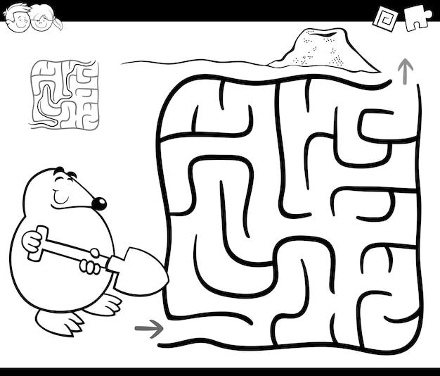 Labirinto com mole para colorir