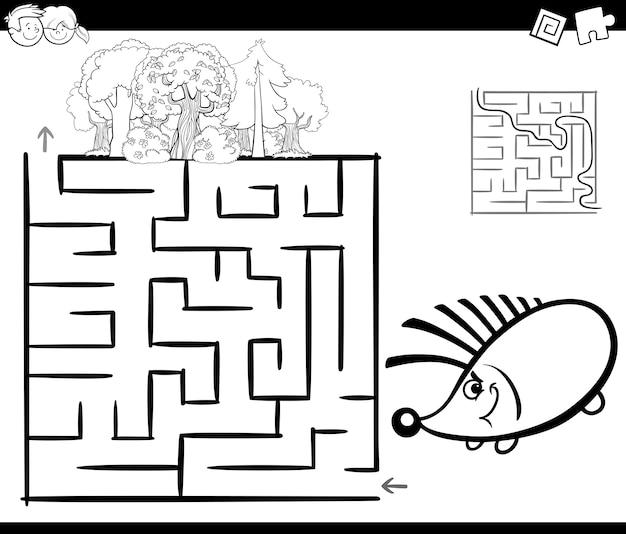 Labirinto com página de coloração hedgehog