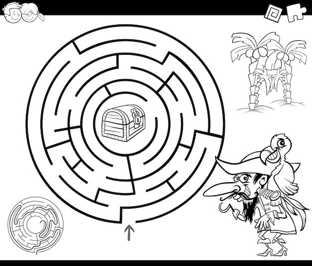 Labirinto com pirataria para colorir