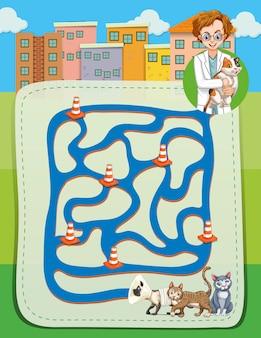 Labirinto com veterinário e gatinhos