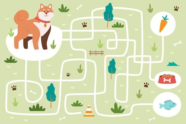 Labirinto criativo para crianças com elementos ilustrados