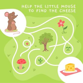 Labirinto criativo para crianças com ilustrações