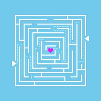 Labirinto de amor. caminho para encontrar amigos ou ilustração de novas relações