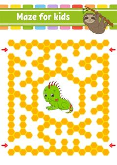 Labirinto de animais para crianças. preguiça e iguana amigos.