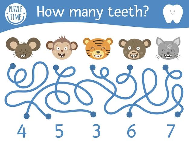 Labirinto de atendimento odontológico para crianças. atividade matemática pré-escolar com animais dentuços. engraçado jogo de quebra-cabeça com rato bonito, macaco, gato, urso, tigre. labirinto de contagem para crianças. quantos dentes