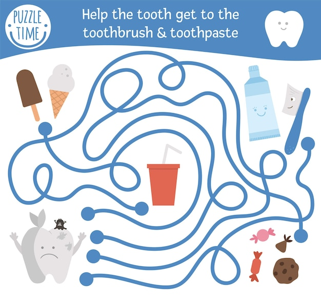 Labirinto de atendimento odontológico para crianças. atividade médica pré-escolar. engraçado jogo de puzzle com personagens fofinhos. ajude o dente doente a chegar à escova e pasta de dentes. labirinto de higiene bucal