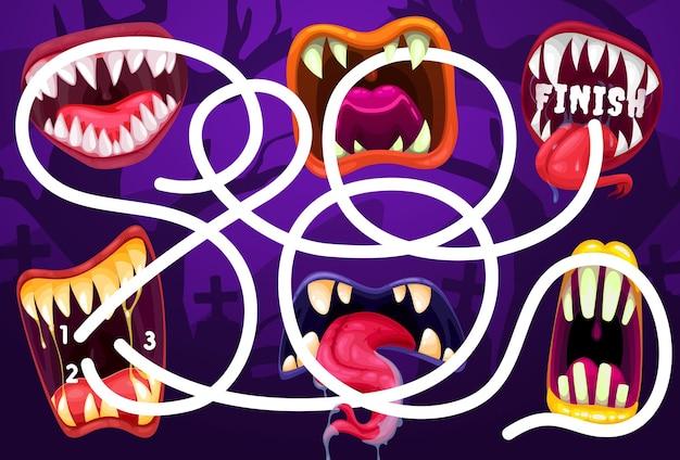Labirinto de caminhos de pesquisa de crianças com mandíbulas de monstros. crianças vector labirinto jogo de halloween, criança encontra atividade de maneira com criaturas dos desenhos animados, monstros assustadores abrem a boca com presas afiadas e língua na saliva