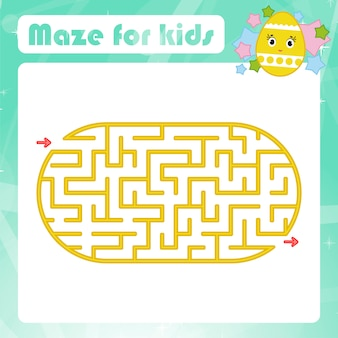 Labirinto de cor oval. planilhas de crianças. página de atividade. jogo de quebra-cabeça para crianças.