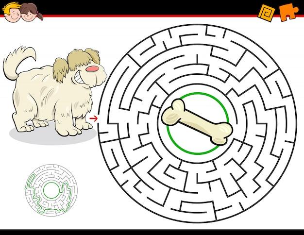 Labirinto de educação ou jogo de labirinto com cachorro e osso