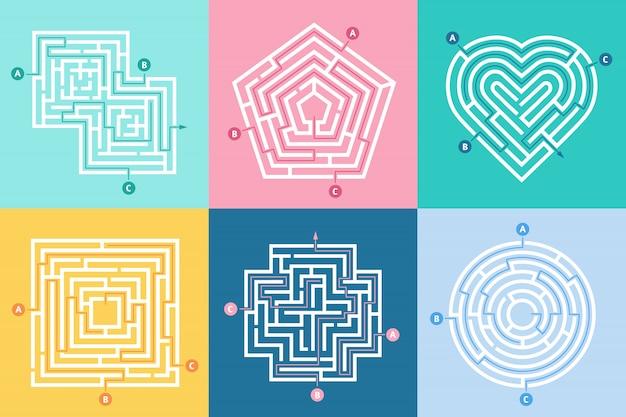Labirinto de entrada, encontre o caminho certo, jogo de labirinto de crianças e labirintos de escolha entradas conjunto de letras