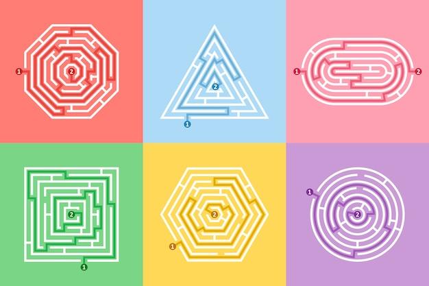 Labirinto de formas diferentes e divertido conjunto de quebra-cabeças de labirinto.