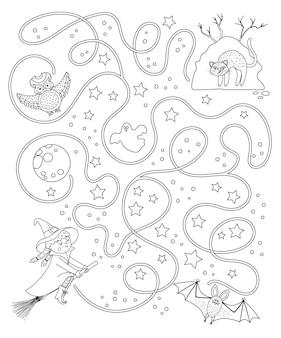 Labirinto de halloween preto e branco para crianças. atividade educacional para impressão da pré-escola de outono. dia engraçado do jogo morto ou página para colorir. ajude a bruxa a chegar a sua colina