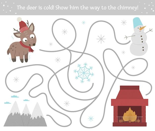 Labirinto de inverno para crianças. atividade de natal pré-escolar.