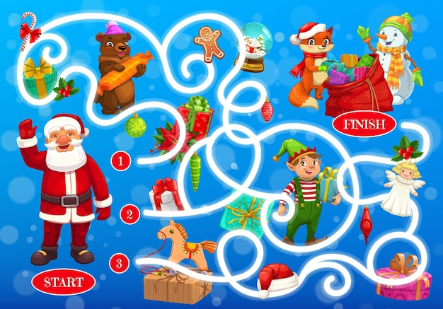 Labirinto de labirinto de natal com personagens de contos de fadas