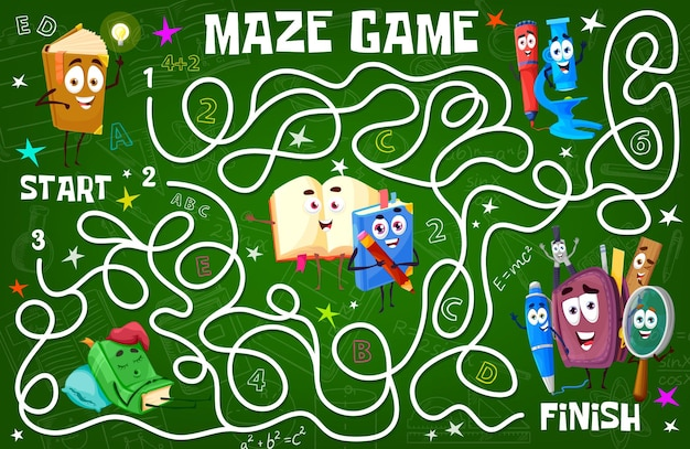 Labirinto de labirinto infantil com livros escolares, fórmulas de ciências e personagens de papelaria educacional. atividade de brincar de criança com tarefa de encontrar caminho, jogo de labirinto de labirinto de crianças de vetor de desenho animado, charada ou teste