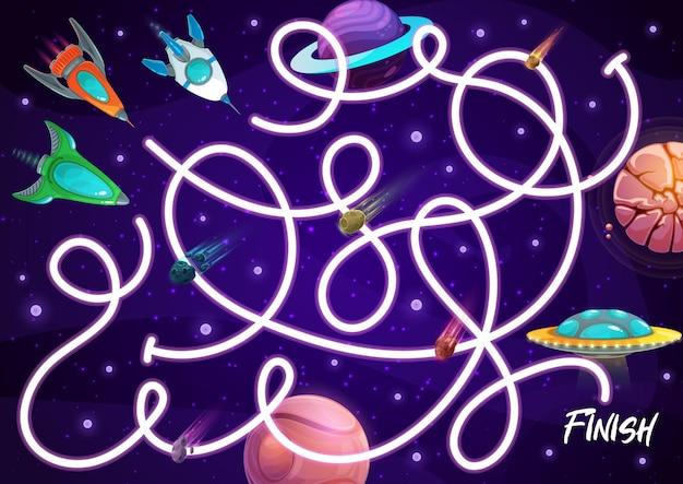 Labirinto de labirinto infantil com naves espaciais, jogo de tabuleiro