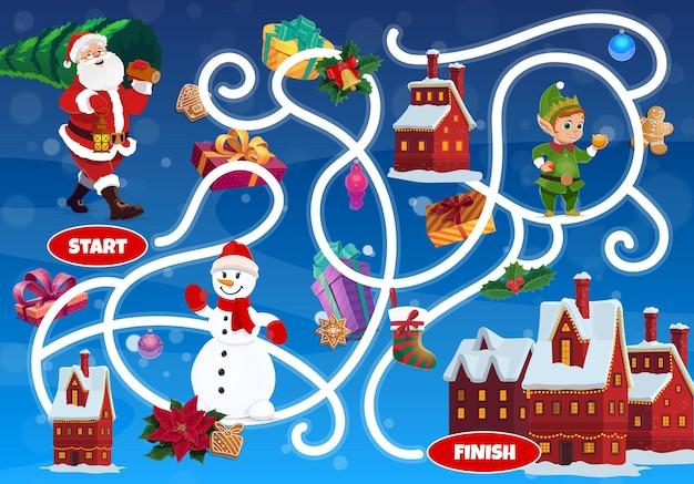 Labirinto de labirinto infantil com personagens de fadas de natal