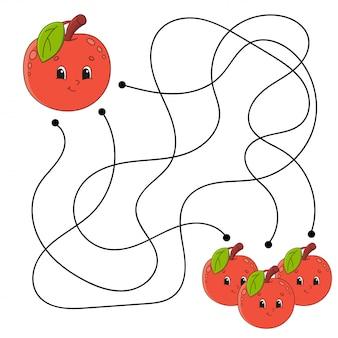 Labirinto de maçã para crianças planilha
