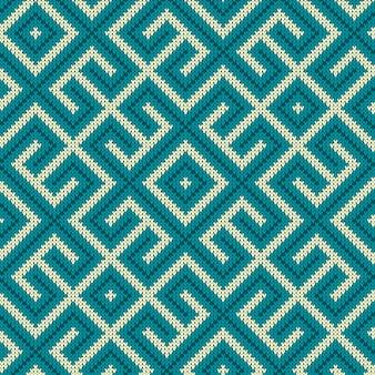 Labirinto de malha azul vintage sem costura