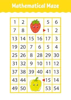 Labirinto de matemática. jogo para crianças. labirinto engraçado. planilha de desenvolvimento de educação.