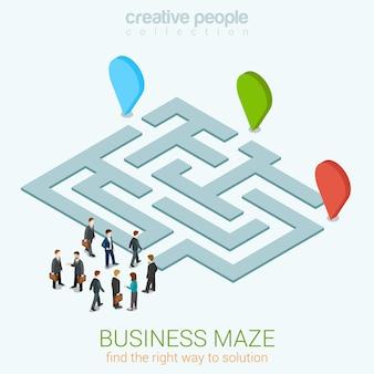 Labirinto de negócios, puzzle, web plana 3d