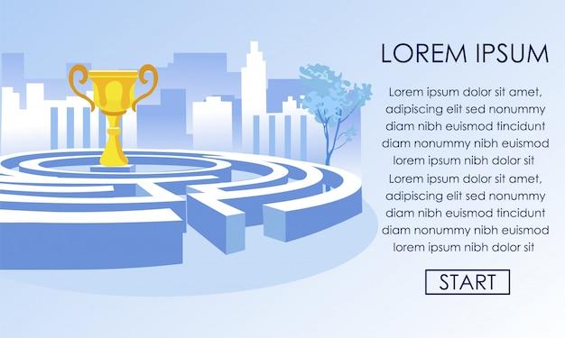 Labirinto de uma escolha e taça campeã de ouro para vencedor