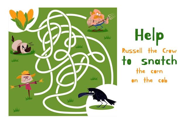 Labirinto desenhado para crianças