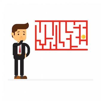 Labirinto e empresário a pensar solução
