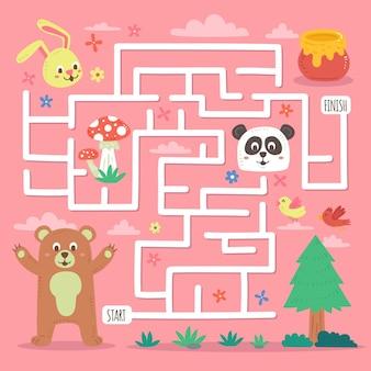 Labirinto educacional para crianças com animais selvagens