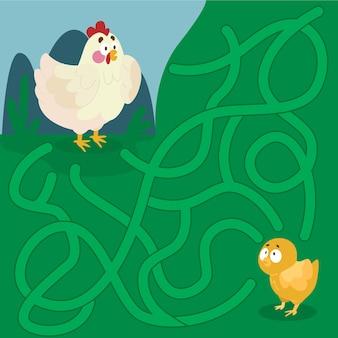 Labirinto educacional para crianças com galinhas
