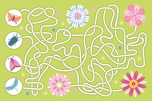Labirinto educacional para crianças com insetos e flores