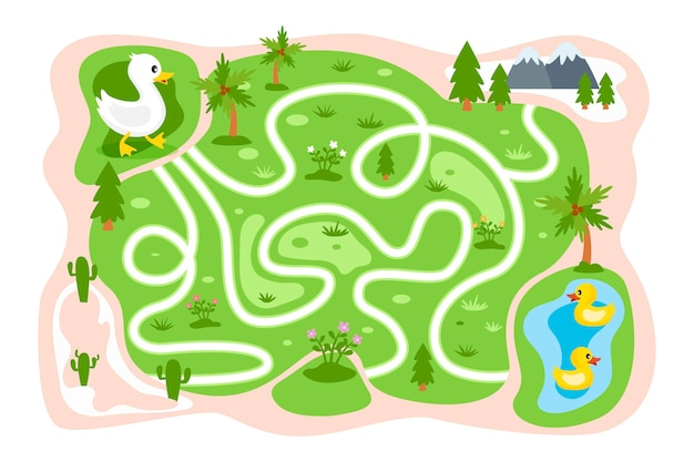 Labirinto educacional para crianças com patos