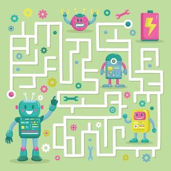Labirinto educacional para crianças com robôs