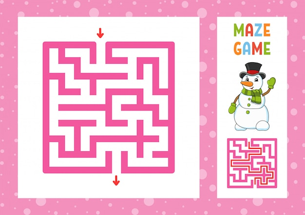 Labirinto engraçado. jogo para crianças. quebra-cabeça para crianças. caráter feliz. enigma do labirinto. ilustração vetorial de cor