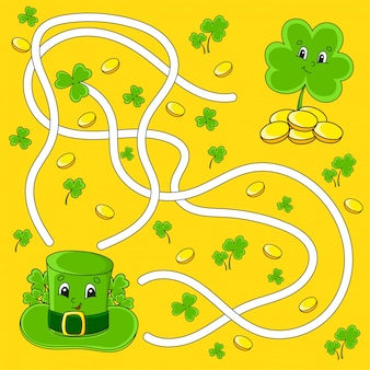 Labirinto engraçado para crianças. chapéu, trevo. dia de são patricio. enigma do labirinto.