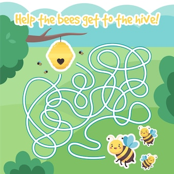 Labirinto fofo para crianças com abelhas