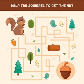 Labirinto fofo para crianças com elementos da floresta