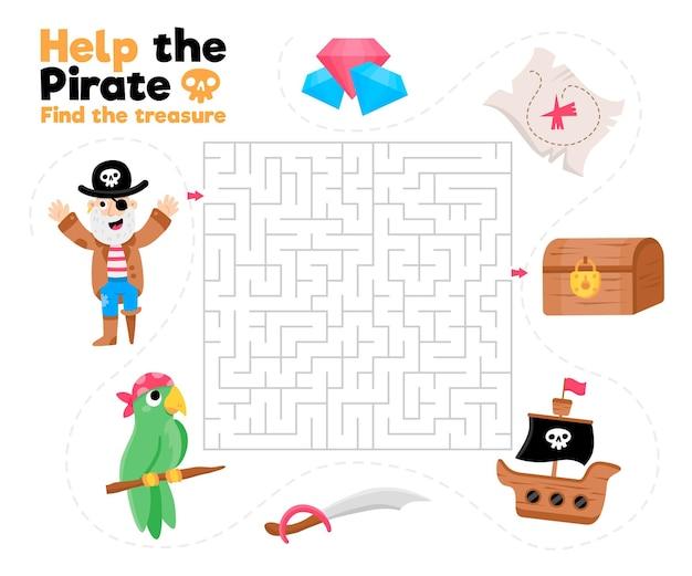 Labirinto fofo para crianças com elementos piratas