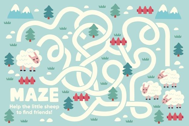 Labirinto fofo para crianças com ilustrações