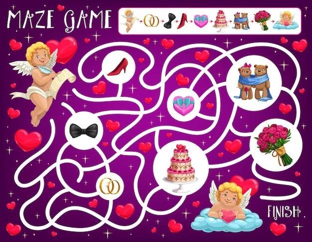 Labirinto infantil do dia dos namorados com atributos de amor e casamento
