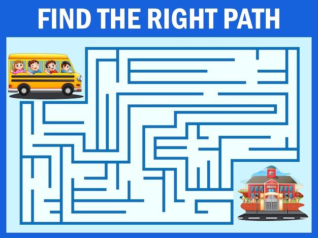 Labirinto jogo encontra o caminho de ônibus escolar chegar à escola