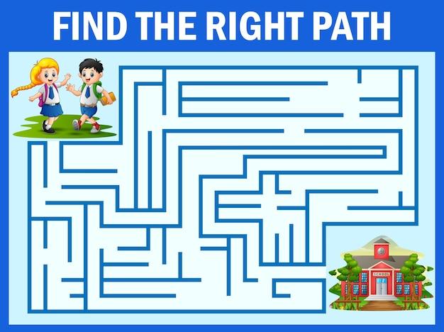 Labirinto jogo encontra o caminho do aluno chegar à escola