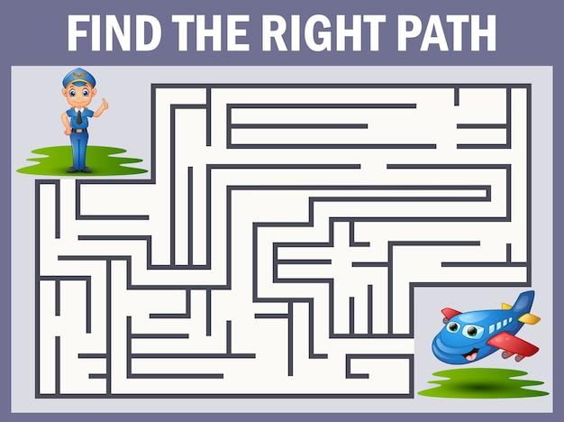Labirinto jogo encontra o caminho do piloto para o avião