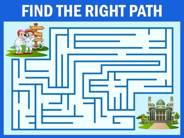 Labirinto jogo encontra o menino e menina, caminho para a mesquita