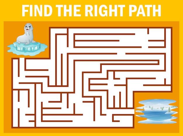 Labirinto jogo encontrar leão marinho ir embora ao pólo