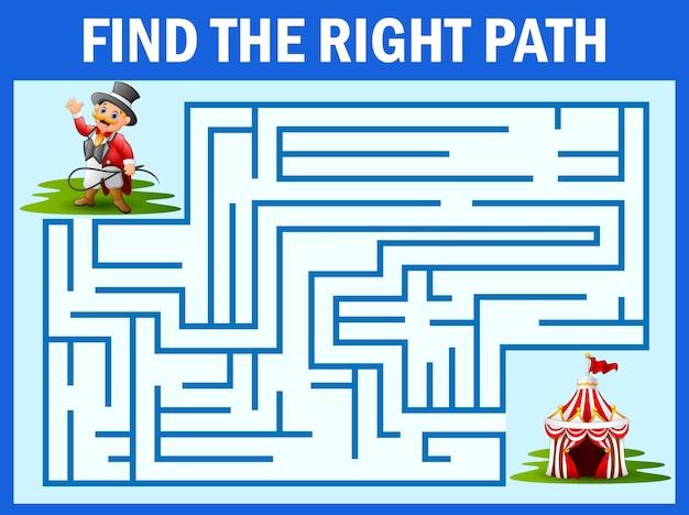 Labirinto jogo encontrar maneira de treinador de circo para tenda
