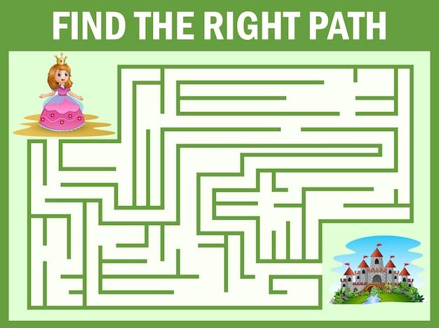 Labirinto jogo encontrar uma princesa maneira de castelo
