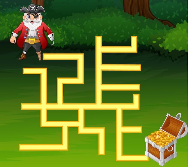 Labirinto jogo piratas encontrar o caminho para o tesouro