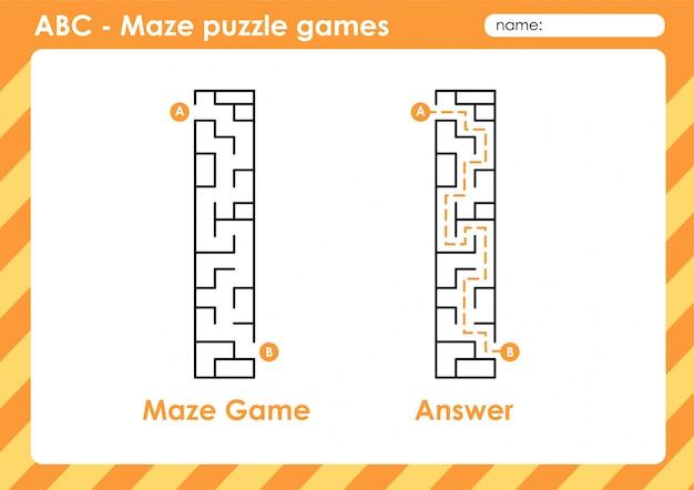 Labirinto jogos de quebra-cabeça - alfabeto a a z divertido jogo para crianças letra: i