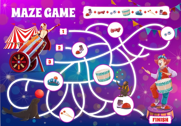 Labirinto labirinto de jogo de tabuleiro infantil, palhaços de circo